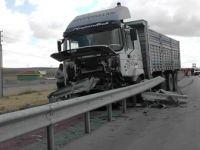 Lastiği patlayan kamyon bariyerleri biçti