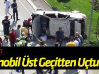 Konya'da Otomobil Üst Geçitten Uçtu