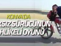 Konya'da kasksız sürücünün tehlikeli oyunu