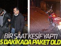 Bir saat keşif yapıp çaldığı motosikletle 5 dakikada yakalandı