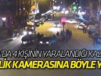 Konya'da 4 kişinin yaralandığı kaza anı güvenlik kamerasında