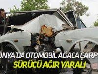 Konya'da otomobil ağaca çarptı: Sürücü ağır yaralı