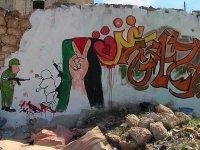 İdlib'den Kudüs ve Gazze'ye grafitili destek