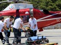 Konya'da yaylada yaralanan epilepsi hastası helikopterle taşındı