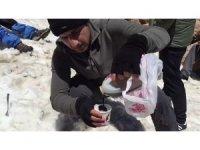 Dağcıların 5 bin 58 rakımlı Süphan Dağı'nda karlı pekmez keyfi