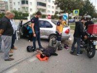 Samsun'da motosiklet otomobile çarptı: 1 yaralı