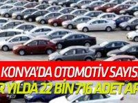 Konya'da otomobil sayısı bir yılda 22 bin 716 adet arttı
