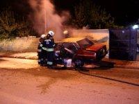 Konya'da park halindeki otomobil kundaklandı
