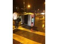 Alkollü sürücü devrilen otomobilden burnu bile kanamadan çıktı