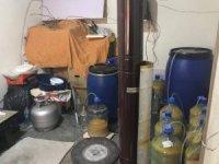 Kaçak içki imalatı yapılan eve baskın