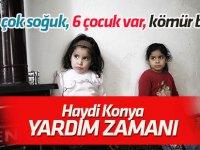 Konya'da Suriyeli aile  tek göz odada 6 çocukla soğukla mücadele ediyor