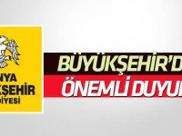 Konya Büyükşehir'den önemli duyuru