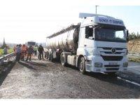 Gaziantep'te tanker tıra çarparak alev aldı: 1 ölü