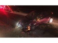 Takla atan otomobil su kanalına düştü: 2 yaralı