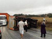 Bilecik'te kamyon devrildi