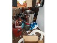 Alanya'da sahte içki imalatı yapılan depoya polisten baskın