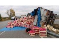 Sebze yüklü kamyon orta refüje devrildi