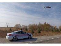 Eskişehir'de helikopter ile trafik denetimi