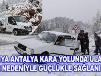 Konya -Antalya kara yolunda ulaşım kar yağışı nedeniyle güçlükle sağlanıyor