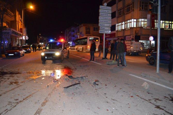 Trafik kazası güvenlik kamerasında