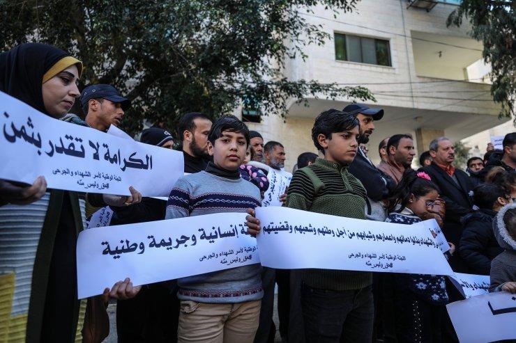 Gazze'de yaralı ve şehit ailelerinin maaşlarının ödenmesi için gösteri