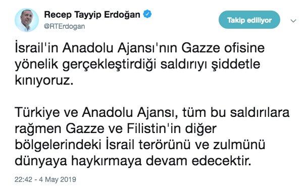 Erdoğan, İsrail'in AA'nın Gazze ofisine yönelik saldırısını kınadı