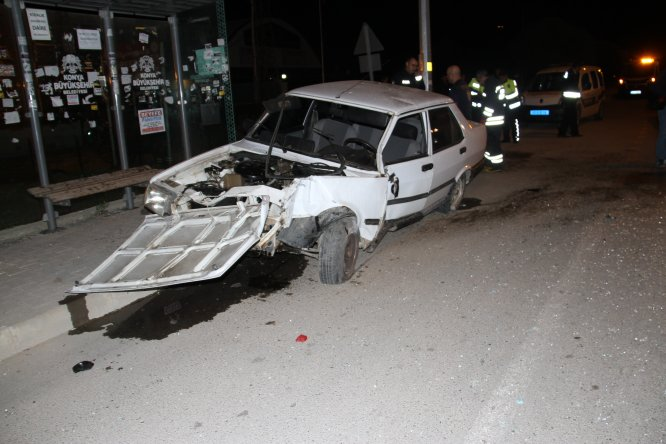 Beyşehir'de otomobil panoya çarptı: 2 yaralı