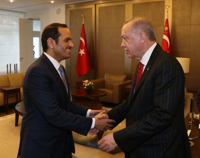 Erdoğan'ın, Katar Başbakan Yardımcısı ve Dışişleri Bakanı Sani'yi kabulü sona erdi