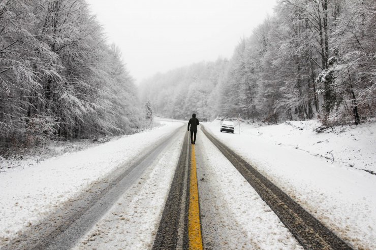 Kütahya'da yüksek kesimlerde kar yağışı etkili oluyor