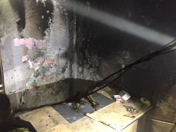 İş yerinin deposunda yangın