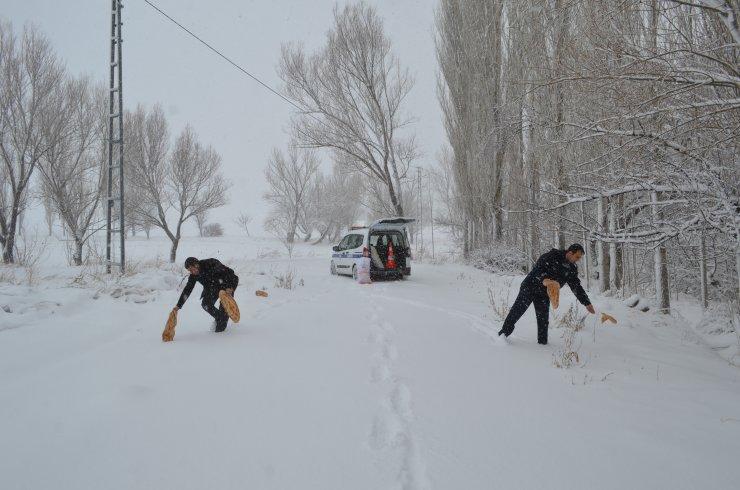 Bünyan'da yaban hayvanlarına yem desteği