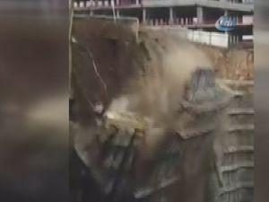 Başakşehir'de dev istinat duvarı çöktü