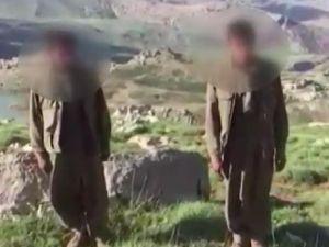 Siirt'te 2 teröristin teslim olma anı