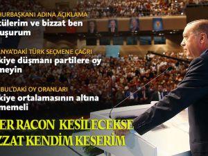 Cumhurbaşkanı Erdoğan: Eğer bir racon kesilecekse bu raconu bizzat kendim keserim!