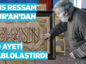 Kur'an-ı Kerim'den 20 ayeti tablolaştırdı