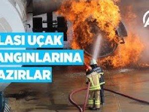 Üçüncü havalimanı personeli olası uçak yangınlarına hazır